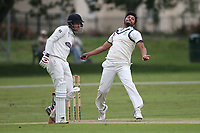 K Velani in bowling action for  during Hornchurch CC vs Wanstead and Snaresbrook CC, Hamro Foundation Essex League Cricket at Harrow Lodge Park on 10th July 2021