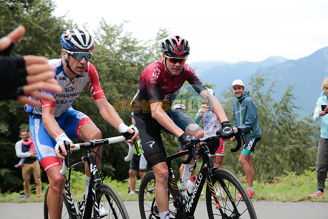 Chris Froome (GBR) Team Ineos 5 mins back as he rounds the final bend with Bruno Armirail (FRA) Groupama-FDJ before the finish of Stage 3 of the Route d'Occitanie 2020, running 163.5km from Saint-Gaudens to Col de Beyrède, France. 3rd August 2020. <br /> Picture: Colin Flockton | Cyclefile<br /> <br /> All photos usage must carry mandatory copyright credit (© Cyclefile | Colin Flockton)