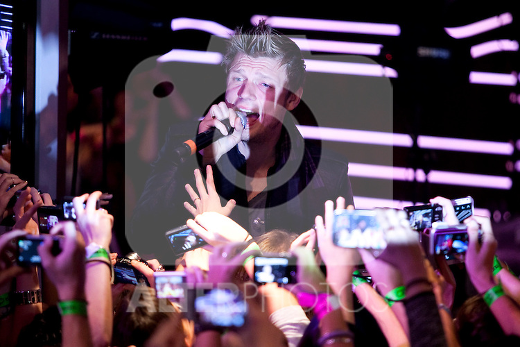 """Nick Carter of the Backstreet Boys attends a fan meeting performance concert during their new music album """"In A World Like This"""" presentation at 40 Principales Cafe on November 12, 2013 in Madrid, Spain. (ALTERPHOTOS/Victor Blanco)"""