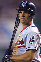 Omar Vizquel of the Cleveland Indians during a 2001 season MLB game at Angel Stadium in Anaheim, California. (Larry Goren/Four Seam Images)