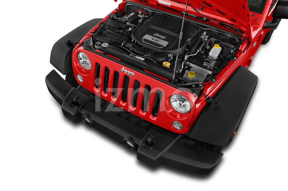 Car Stock 2015 JEEP Wrangler Unlimited Sport 5 Door Sport Utility Vehicle Engine high angle detail view