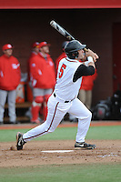 Rutgers University Scarlet Knights infielder Nick Favatella (5) hits a home run during game game 1 of a double header against the University of Houston Cougers at Bainton Field on April 5, 2014 in Piscataway, New Jersey. Rutgers defeated Houston 7-3.      <br />  (Tomasso DeRosa/ Four Seam Images)