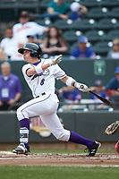 Alex Call (8) of the Winston-Salem Dash follows through on his swing against the Salem Red Sox at BB&T Ballpark on April 22, 2018 in Winston-Salem, North Carolina.  The Red Sox defeated the Dash 6-4 in 10 innings.  (Brian Westerholt/Four Seam Images)