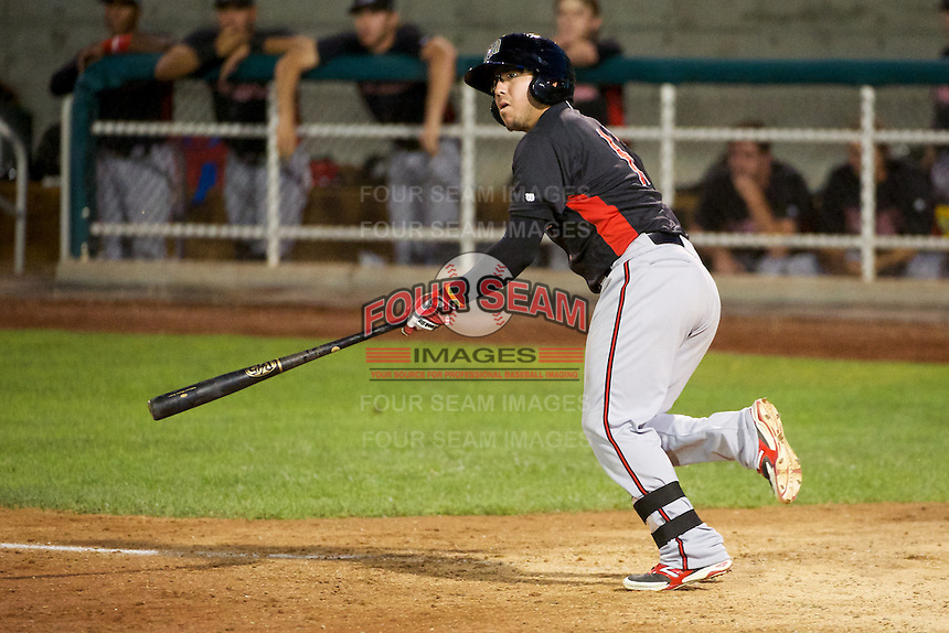 Alberti Chavez (16) of the Billings Mustangs at bat against the Orem Owlz in Pioneer League action at Home of the OWLZ on August 15, 2014 in Orem , Utah.  (Stephen Smith/Four Seam Images)