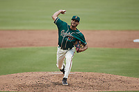 Greensboro Grasshoppers relief pitcher Alexander Manasa (28) in action against the Winston-Salem Dash at First National Bank Field on June 3, 2021 in Greensboro, North Carolina. (Brian Westerholt/Four Seam Images)