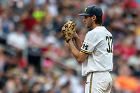 Michigan Wolverines pitcher Karl Kauffmann (37) looks to his catcher for the sign during Game 1 of the NCAA College World Series against the Texas Tech Red Raiders on June 15, 2019 at TD Ameritrade Park in Omaha, Nebraska. Michigan defeated Texas Tech 5-3. (Andrew Woolley/Four Seam Images)