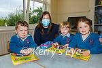 The three new Juniors who started school at Scoil Mhichíl Naofa in Ballinskelligs on Wednesday pictured l-r; Nicolás de Brún, Múinteoir Tríona Ní Chofaigh, Aoibhínn Nic Giolla Catháin agus Molly Nic Aogáin.