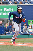 Vladimir Guerrero Jr. (27) of the New Hampshire Fisher Cats runs down the first base line during a game against the Hartford Yard Goats at Dunkin Donuts Park on April 8, 2018 in Hartford, Connecticut.<br /> (Gregory Vasil/Four Seam Images)