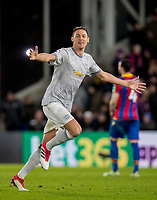 Nemanja Matic of Man Utd celebrates scoring the winning goal during the Premier League match between Crystal Palace and Manchester United at Selhurst Park, London, England on 5 March 2018. Photo by Andy Rowland.