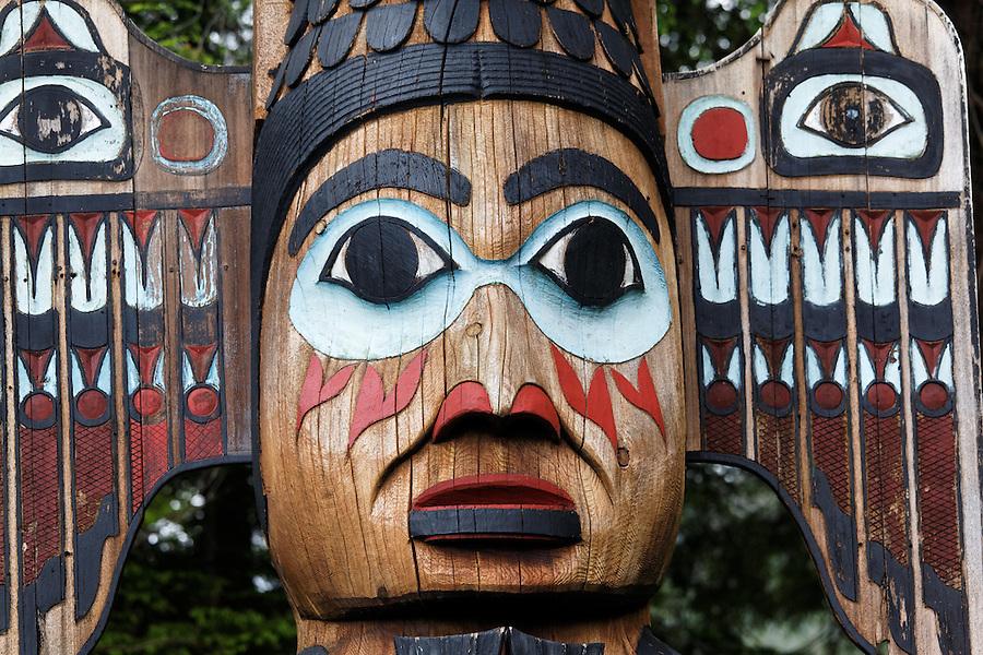Replica of Kadjuk Bird Pole totem pole, Totem Bight State Historical Park, Ketchikan, Alaska