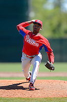Philadelphia Phillies pitcher Felix Santos (64) during a minor league Spring Training game against the New York Yankees at Carpenter Complex on March 21, 2013 in Clearwater, Florida.  (Mike Janes/Four Seam Images)