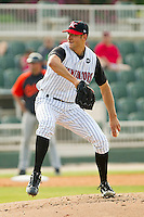 Starting pitcher Spencer Arroyo #20 of the Kannapolis Intimidators in action against the Delmarva Shorebirds at Fieldcrest Cannon Stadium on May 22, 2011 in Kannapolis, North Carolina.   Photo by Brian Westerholt / Four Seam Images