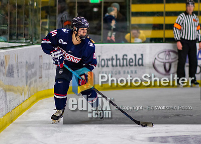 8 February 2020: University of Connecticut Husky Defender Tristyn Svetek, a Senior from Burlington, Ontario, in second period action against the University of Vermont Catamounts at Gutterson Fieldhouse in Burlington, Vermont. The Huskies defeated the Lady Cats 4-2 in the first game of their weekend Hockey East series. Mandatory Credit: Ed Wolfstein Photo *** RAW (NEF) Image File Available ***