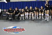 Omaha, NE - DECEMBER 20:  Assistant coach Jason Mansfield, volunteer assistant coach Chris Muscat, defensive specialist Jessica Fishburn #11, outside hitter Alex Fisher #5, setter Joanna Evans #3, defensive specialist Katherine Sebastian #14, middle blocker Stephanie Browne #15, and defensive specialist Katherine Knox #6 of the Stanford Cardinal during Stanford's 20-25, 24-26, 23-25 loss against the Penn State Nittany Lions in the 2008 NCAA Division I Women's Volleyball Final Four Championship match on December 20, 2008 at the Qwest Center in Omaha, Nebraska.