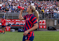EAST HARTFORD, CT - JULY 5: Lindsey Horan #9 of the USWNT drinks during a game between Mexico and USWNT at Rentschler Field on July 5, 2021 in East Hartford, Connecticut.