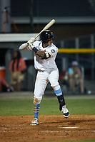 Oscar Serratos (13) (Biola) of the Burlington Sock Puppets at bat against the Danville Otterbots at Burlington Athletic Park on June 5, 2021 in Burlington, North Carolina. (Brian Westerholt/Four Seam Images)