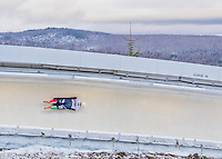 9 January 2016: Mattia Gaspari, competing for Italy, slides through Curve 14 on his second run of the day during the BMW IBSF World Cup Skeleton Championships at the Olympic Sports Track in Lake Placid, New York, USA. Gaspari ended the day with a combined 2-run time of 1:50.42 and an 8th place overall finish. Mandatory Credit: Ed Wolfstein Photo *** RAW (NEF) Image File Available ***