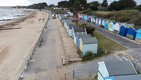 BNPS.co.uk (01202) 558833. <br /> Pic: BNPS<br /> <br /> Pictured: The beach hut, circled, at Friars Cliff. <br /> <br /> A beach hut that looks more like a garden shed you could buy from B&Q for £500 has gone the market - for almost £60,000.<br /> <br /> At 7ft by 8ft the timber cabin is about the same size as most garden sheds, but its idyllic location makes it far more valuable.<br /> <br /> Hut 128 is on Friars Cliff Beach in Christchurch, Dorset.<br /> <br /> The dilapidated hut is about 30 years old and in need of replacing. It doesn't have any fixtures or fittings and is just an empty shell.