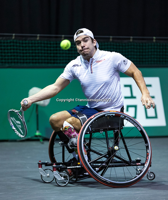 Rotterdam, The Netherlands, 4 march  2021, ABNAMRO World Tennis Tournament, Ahoy, First round wheelchair: Martin De La Puente (ESP). Photo: www.tennisimages.com/