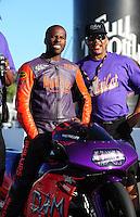 Jul. 24, 2009; Sonoma, CA, USA; NHRA pro stock motorcycle rider Michael Phillips during qualifying for the Fram Autolite Nationals at Infineon Raceway. Mandatory Credit: Mark J. Rebilas-