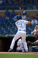 Jake Smolinski (7) of the Durham Bulls at bat against the Columbus Clippers at Durham Bulls Athletic Park on June 1, 2019 in Durham, North Carolina. The Bulls defeated the Clippers 11-5 in game one of a doubleheader. (Brian Westerholt/Four Seam Images)