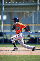 Baltimore Orioles Irving Ortega (26) follows through on a swing during a minor league Spring Training game against the Minnesota Twins on March 17, 2017 at the Buck O'Neil Baseball Complex in Sarasota, Florida.  (Mike Janes/Four Seam Images)