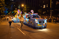 Beautiful Sea Theme Float at Night, Seafair Torchlight Parade 2015, Seattle, Washington State, WA, America, USA.