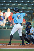 Josh Jung (15) Hickory Crawdads at bat against the Charleston RiverDogs at L.P. Frans Stadium on August 10, 2019 in Hickory, North Carolina. The RiverDogs defeated the Crawdads 10-9. (Brian Westerholt/Four Seam Images)
