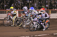 Heat 6: Peter Karlsson (red), Jason Crump (blue), Kim Nilsson (white) and Chris Harris (yellow) - Lee Richardson Memorial Speedway Meeting at Arena Essex Raceway, Purfleet - 28/09/12 - MANDATORY CREDIT: Gavin Ellis/TGSPHOTO - Self billing applies where appropriate - 0845 094 6026 - contact@tgsphoto.co.uk - NO UNPAID USE.