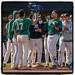Robbie McGaha (24) of the University of South Carolina Upstate Spartans Green team tips his helmet as he crosses the plate with his grand slam home run in the sixth inning of the Green and Black Fall World Series Game 2 on Saturday, October 31, 2020, at Cleveland S. Harley Park in Spartanburg, South Carolina. His two homers gave Green the win, 6-5. (Tom Priddy/Four Seam Images)