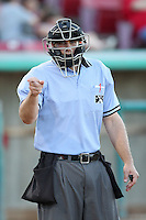 Umpire Ryan Goodman during a game between the Bakersfield Blaze and the High Desert Mavericks at Mavericks Stadium on July 17, 2011 in Adelanto,California. Bakersfield defeated High Desert 11-10.(Larry Goren/Four Seam Images)