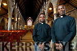Father Amos Ruto and Father Vitalis Barasa, (Kenya) pictured discussing about their time in Kerry on Friday last in St. John's Church, Tralee.