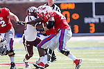 Southern Methodist Mustangs offensive linesman Kris Weeks (75) in action during the game between the Texas A&M Aggies and the SMU Mustangs at the Gerald J. Ford Stadium in Fort Worth, Texas. A&M leads SMU 38 to 3 at halftime.