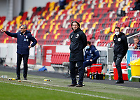 20th March 2021; Brentford Community Stadium, London, England; English Football League Championship Football, Brentford FC versus Nottingham Forest; Brentford Manager Thomas Frank looks on from the touchline