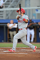 Shortstop Joey Hawkins (7) of the Johnson City Cardinals bats in a game against the Danville Braves on Friday, July 1, 2016, at Legion Field at Dan Daniel Memorial Park in Danville, Virginia. Johnson City won, 1-0. (Tom Priddy/Four Seam Images)
