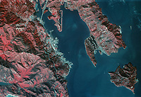 historical infrared photograph of Tiburon, Belvedere, Angel Island and Racoon Straight, California, 1972