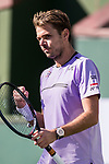 March 8, 2019: Stan Wawrinka (SUI) reacts after defeating Daniel Evans (GBR) 6-7, 6-3, 6-3 at the BNP Paribas Open at the Indian Wells Tennis Garden in Indian Wells, California. ©Mal Taam/TennisClix/CSM
