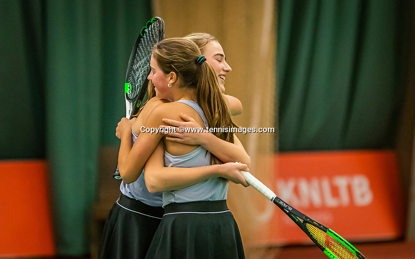 Wateringen, The Netherlands, December 15,  2019, De Rhijenhof , NOJK juniors doubles , Final girls 14  years, the winners Annelin Bakker (NED) and Rose Marie Nijkamp (NED) (L) celebrate matchpoint<br /> Photo: www.tennisimages.com/Henk Koster