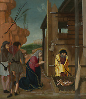 Full title: The Adoration of the Shepherds<br /> Artist: Attributed to Bernardino Butinone<br /> Date made: about 1480-5<br /> The National Gallery, London