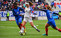 Harrison, N.J. - Sunday March 04, 2018: Griege Mbock Bathy, Alex Morgan during a 2018 SheBelieves Cup match between the women's national teams of the United States (USA) and France (FRA) at Red Bull Arena.