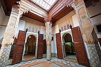 Arabesque Moorish plasterwork and zellij mosaics of the Dar Jamai Museum  a typical dwellings of high Moroccan bourgeoisie at the end of XIX century. located in the old Medina built by Mohamed Ben Larbi Jamai grend vizier of Sultan Moulay Hassan (1873-1894). Meknes, Morocco