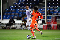 LAKE BUENA VISTA, FL - AUGUST 11: Pedro Gallese #1 of Orlando City SC kicks the ball during a game between Orlando City SC and Portland Timbers at ESPN Wide World of Sports on August 11, 2020 in Lake Buena Vista, Florida.