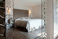 Master bedroom at Nicole Bekdache's home, Grasse, France, 30 March 2012. The Venetian-style mirror was bought in Dubai.