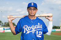 Anderson Miller (12) of the Burlington Royals poses for a photo prior to the game against the Danville Braves at Burlington Athletic Park on July 12, 2015 in Burlington, North Carolina.  The Royals defeated the Braves 9-3. (Brian Westerholt/Four Seam Images)