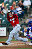 Oklahoma City RedHawks outfielder Brian Barnes #5 swings during the Pacific Coast League baseball game against the Round Rock Express on June 15, 2012 at the Dell Diamond in Round Rock, Texas. The Express shutout the RedHawks 2-1. (Andrew Woolley/Four Seam Images).