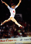 Gina Gogean (born September 9, 1978) is a retired gymnast from Romania who competed internationally in the late 1980s and throughout the 1990s. During her career she won an impressive number of 30 medals at Olympic Games, world championships or continental championships. Her best events were the floor exercise (three-time world champion), the vault (two-time world champion) and the balance beam (1997 world champion). She was also an excellent all around gymnast winning several medals on this event, the European title in 1994, a silver Olympic medal (1996) and a silver medal at the 1993 World championships. She helped Romanian team win three consecutive world titles (1994, 1995 and 1997) and two Olympic team medals, a silver and a bronze (1992 and 1996)