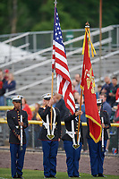 General view of the flag presentation before a Potomac Nationals game against the Salem Red Sox on May 13, 2017 at G. Richard Pfitzner Stadium in Woodbridge, Virginia.  Potomac defeated Salem 6-0.  (Mike Janes/Four Seam Images)