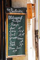 wine shop chalk board domaine la boutiniere chateauneuf du pape rhone france