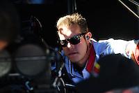 Oct. 28 2011; Las Vegas, NV, USA: NHRA crew member for funny car driver Melanie Troxel during qualifying for the Big O Tires Nationals at The Strip at Las Vegas Motor Speedway. Mandatory Credit: Mark J. Rebilas-
