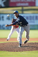 Asheville Tourists relief pitcher Yoely Bello (16) in action against the Kannapolis Intimidators at Intimidators Stadium on June 28, 2015 in Kannapolis, North Carolina.  The Tourists defeated the Intimidators 6-4.  (Brian Westerholt/Four Seam Images)